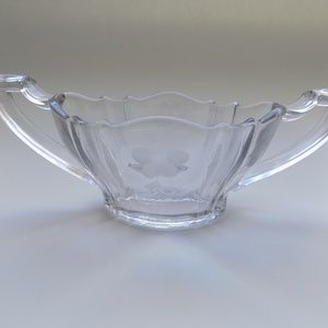 Double-handled etched flower glass sugar bowl